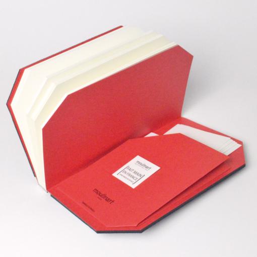 Carnet sur mesure avec pochette et elastique pochette moulinart